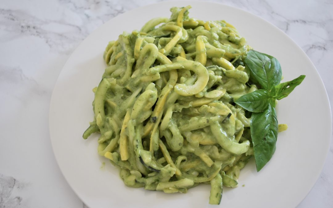 Avocado Basil Pesto with Zucchini Noodles